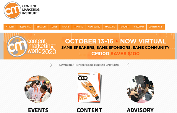 Content Marketing Instituteのウェブサイト