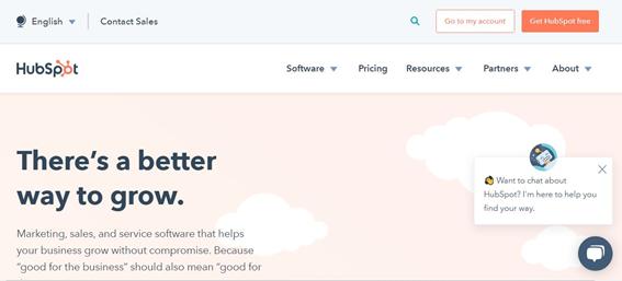 HubSpotのトップページ