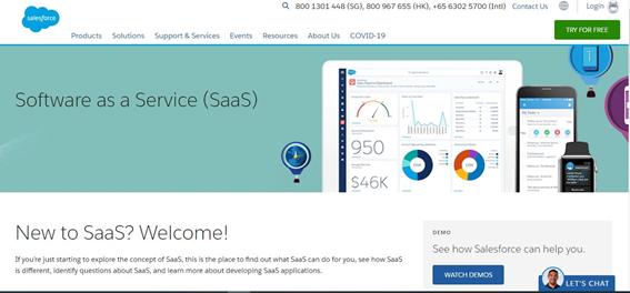 Salesforce.comのトップページ