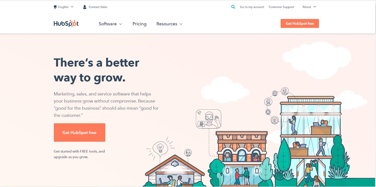 HubSpotのウェブサイト