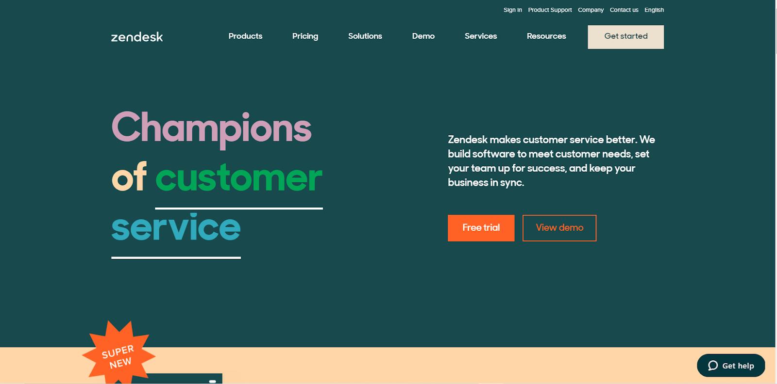 Zendeskのウェブサイト