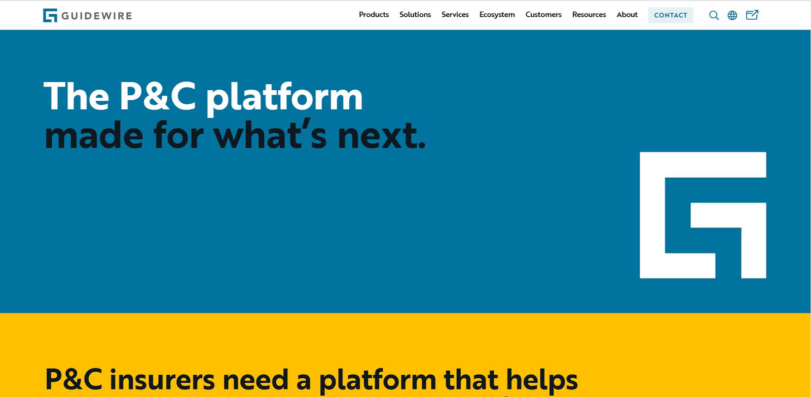 Guidewireのウェブサイト